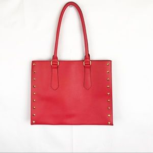 RED FAUX  PEBBLED LEATHER HANDBAG NWOT
